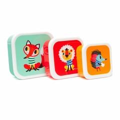 Petit Monkey Petit Monkey Brotdosen Set | Bunte Tiere 3er