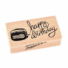 Petit Monkey Petit Monkey Stempel Holz Radio | Happy Birthday