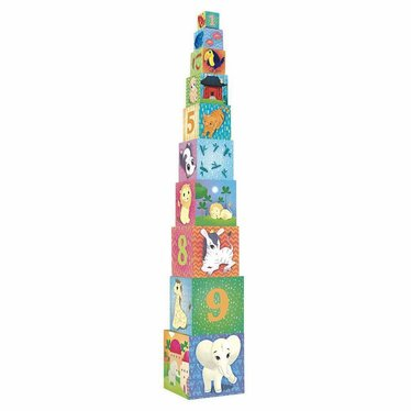 """Vilac Vilac stacking tower """"Animals of the World"""" 10 dice"""