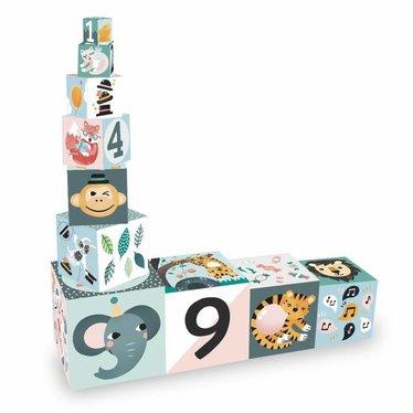 """Vilac Vilac Stacking Tower """"Animals in Pastel"""" 10 kubussen"""