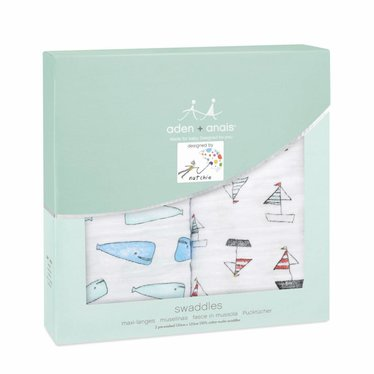Aden + Anais Aden + Anais Classic Swaddle Natchie Wale Boote 120x120 2er