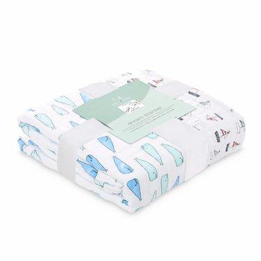 Aden + Anais Aden + Anais Dream Blanket Classic Natchie whales 120x120