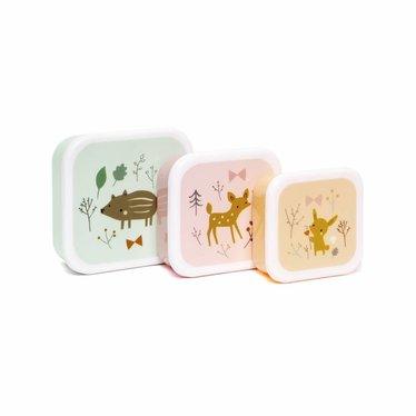 """Petit Monkey Petit Monkey Lunchbox Stel """"Forest Friends"""" 3er in"""