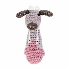 Sebra Sebra crocheted rattle cow Clara pink
