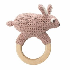 Sebra Sebra crocheted rattle hare hare wooden ring pink