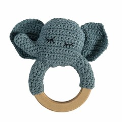 Sebra Sebra crocheted rattle elephant wooden ring blue