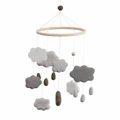 Sebra Sebra Baby Mobile made of felt clouds gray