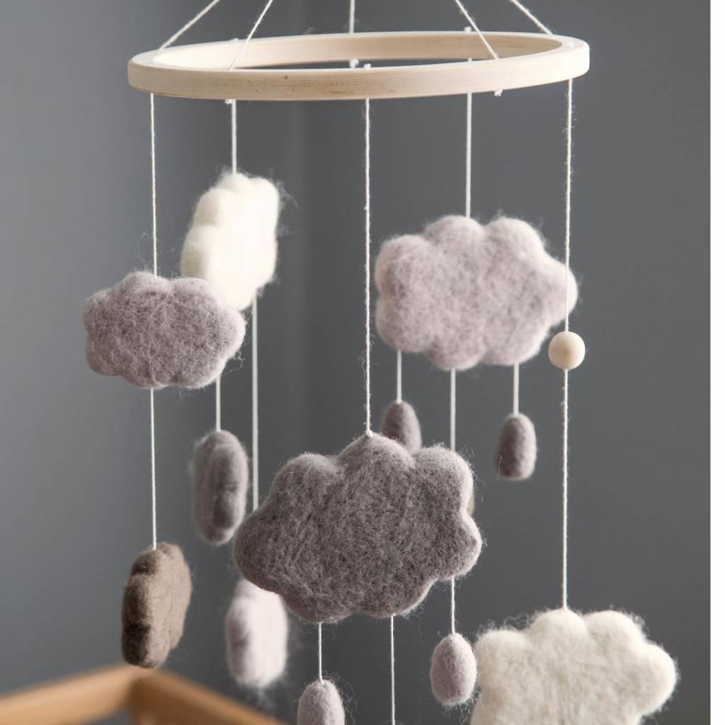 Sebra Interior Baby Mobile Wolken Kinderzimmerdeko Wolle