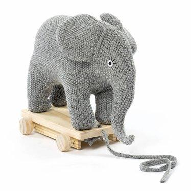 Smallstuff Smallstuff Pulling Animal Elephant grijs gebreid