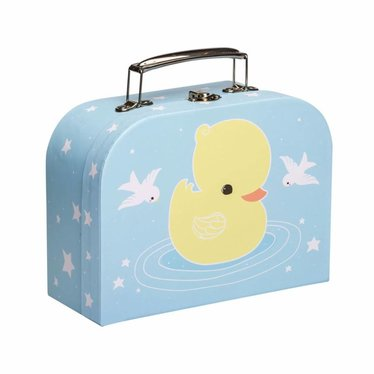A Little Lovely Company A Little Lovely Suitcase made of cardboard duck blue