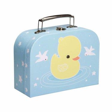 A Little Lovely Company Een kleine mooie koffer gemaakt van karton eendenblauw