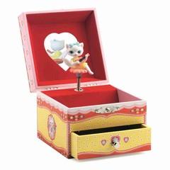 Djeco Djeco jukebox jewelery box cat red