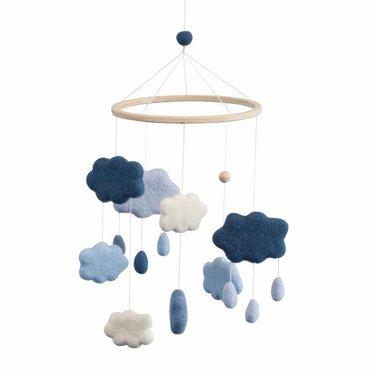 Sebra Sebra Baby Mobile made of felt clouds blue
