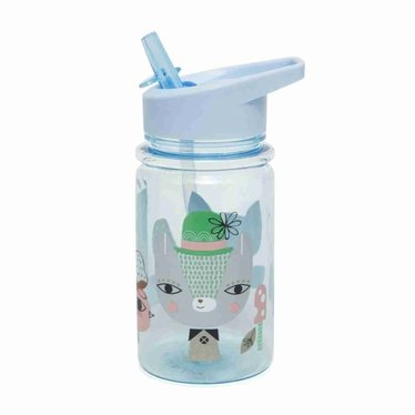 Petit Monkey Petit Monkey Water Bottle | Lama Friends blue