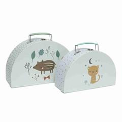 Petit Monkey Petit Monkey Suitcase Set | Forest animals mint 2er