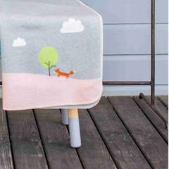 David Fussenegger David Fussenegger jewel baby blanket embroidery fox gray / pink