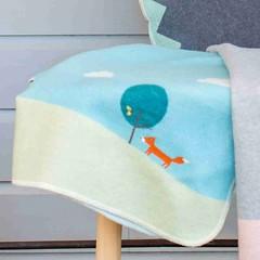 David Fussenegger David Fussenegger juweel babydeken borduurwerk vos grijs / jade