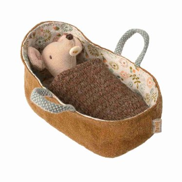 Maileg Maileg Baby Mouse Doll with Carrying Bag