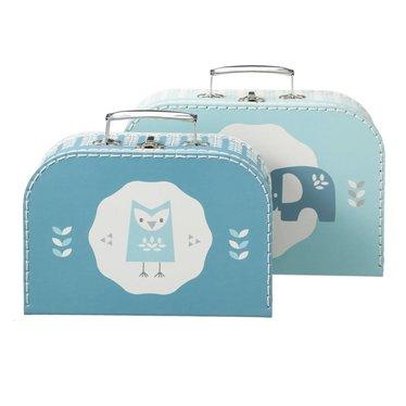 Fresk Fresk Pappkoffer 2er Set blau weiß mit Eule und Elefant