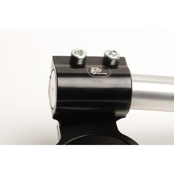PP Tuning Clip-Ons Handlebars 50mm Type Verhoogd 28mm Verstelbaar Zwart Geanodiseerd