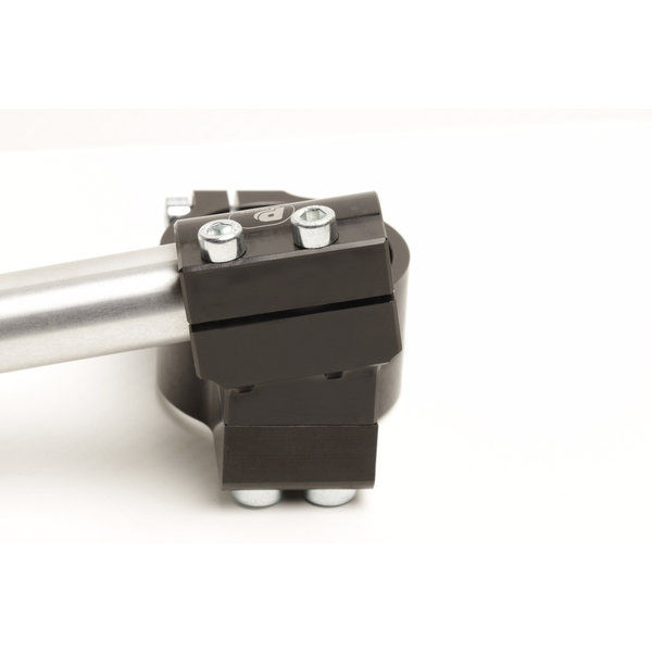 PP Tuning Clip-Ons Handlebars 52mm Type Verhoogd 28mm Verstelbaar Zwart Geanodiseerd