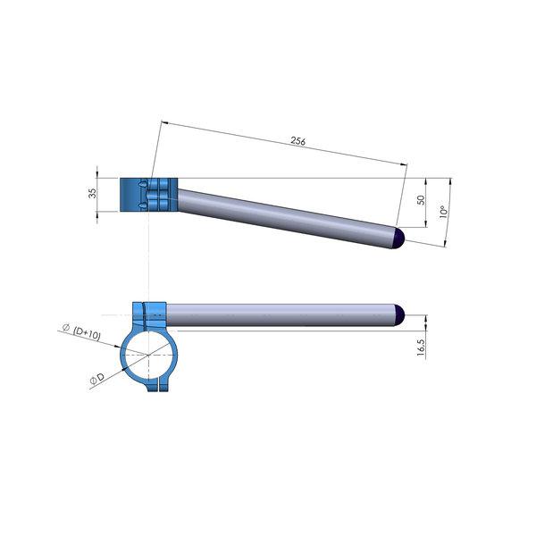 PP Tuning Clip-Ons Handlebars 43mm Type Sport Zwart Geanodiseerd Of Zilver