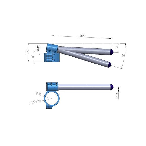 PP Tuning Clip-Ons Handlebars 37mm Type Verhoogd 28mm Verstelbaar Zwart Geanodiseerd