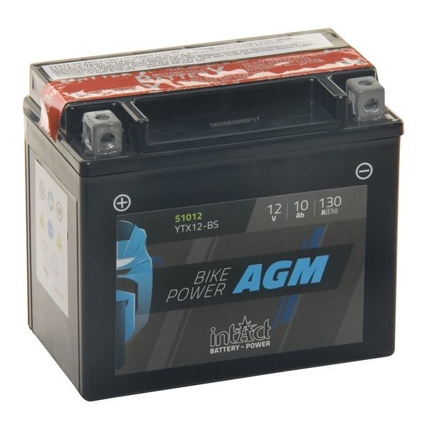 Intact Battery Motorfietsbatterij AGM YTX12-BS 12V 10Ah 51012