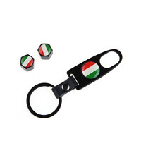 Accessori Italy Ventieldoppen+Sleutelhanger Aluminium Zwart Italiaanse Vlag