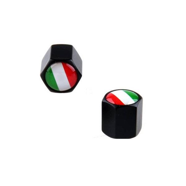 Accessori Italy Ventieldoppen Aluminium Zwart Italiaanse Vlag