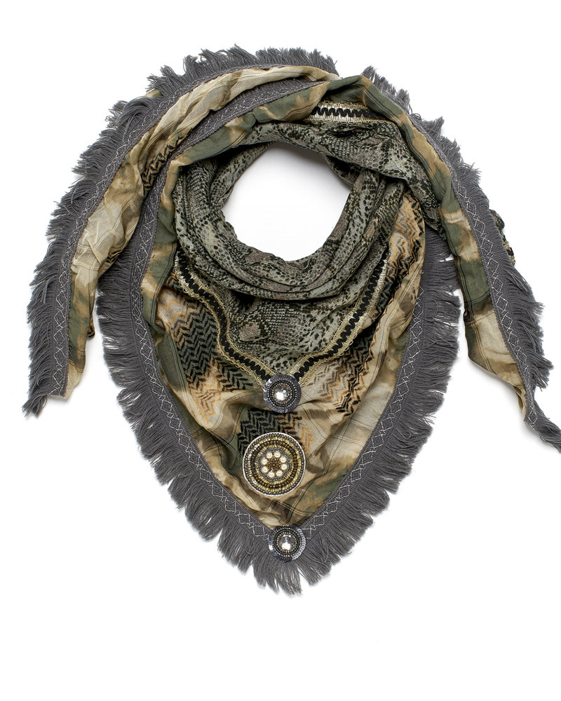 Izuskan Izuskan Schal Large Rock TD Sari Army / Army Snake