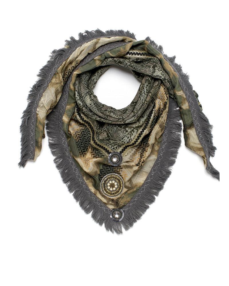 Izuskan Izuskan scarf Large rock TD Sari Army/Army snake