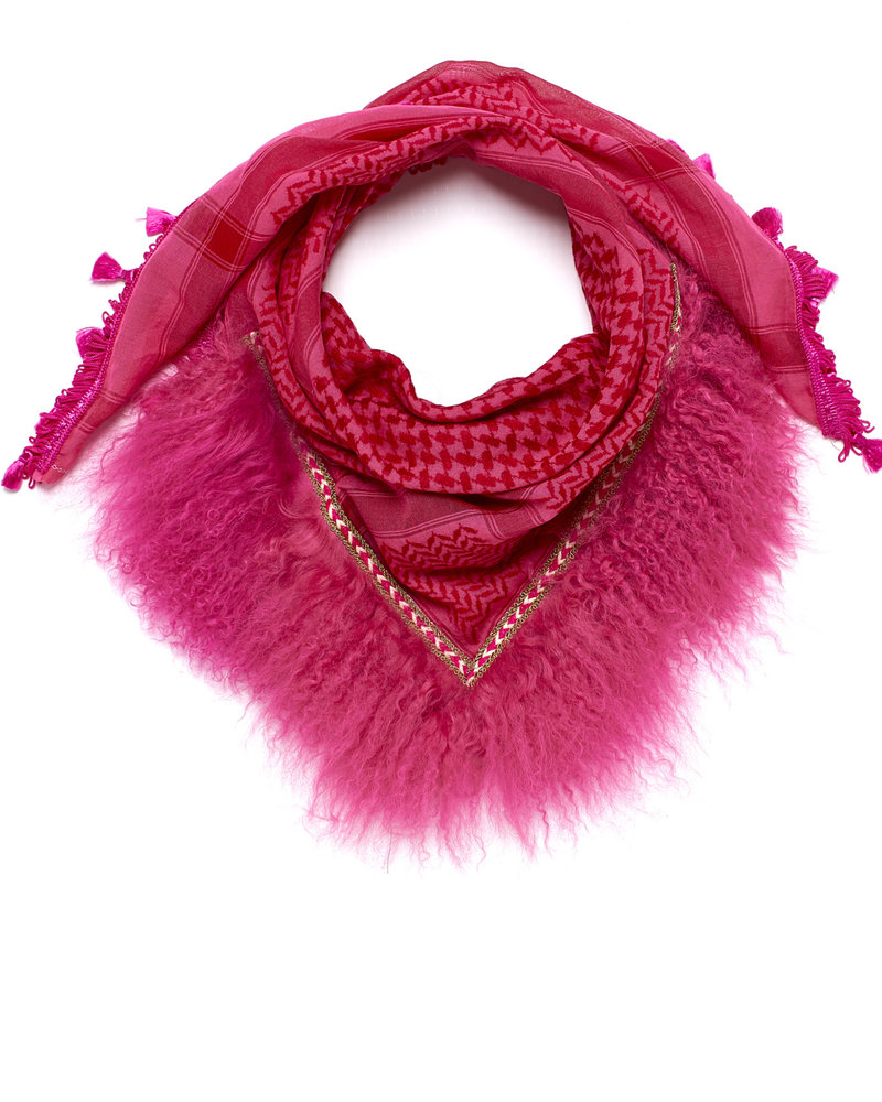 Honey Suckle Izuskan kleiner 1001 Schal mit Tibettlamm in der Farbe Honig säugen leuchtend rosa