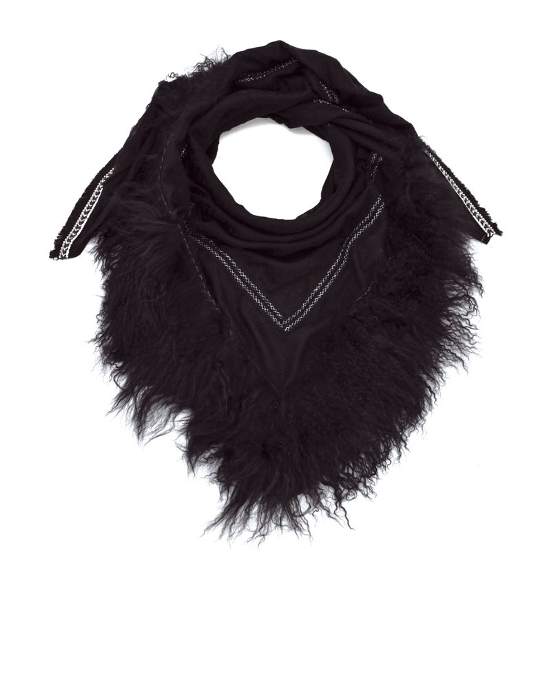 Black Izuskan Rockschal mit Tibetlamm in der Farbe Schwarz