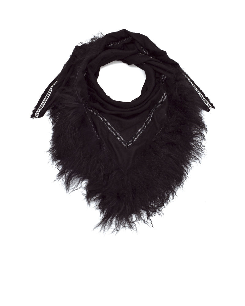 Black Izuskan rock scarf  with Tibetlamm in the color Black