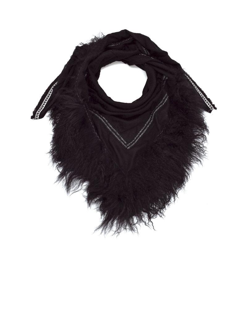 Black Izuskan rotssjaal met Tibetlamm in de kleur zwart