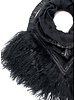 Black Izuskan small scarf with tibettlamm in the color black.