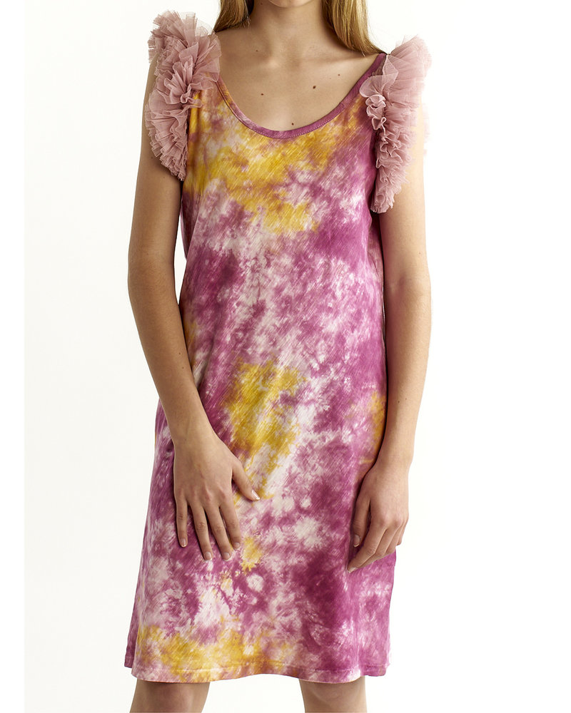 Izuskan Biarritz Short Tule Dress Tie Dye