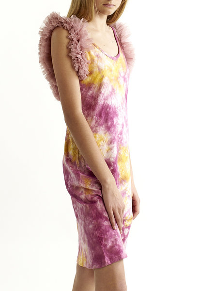 Izuskan Biarritz Short Tule Dress Tie Dye
