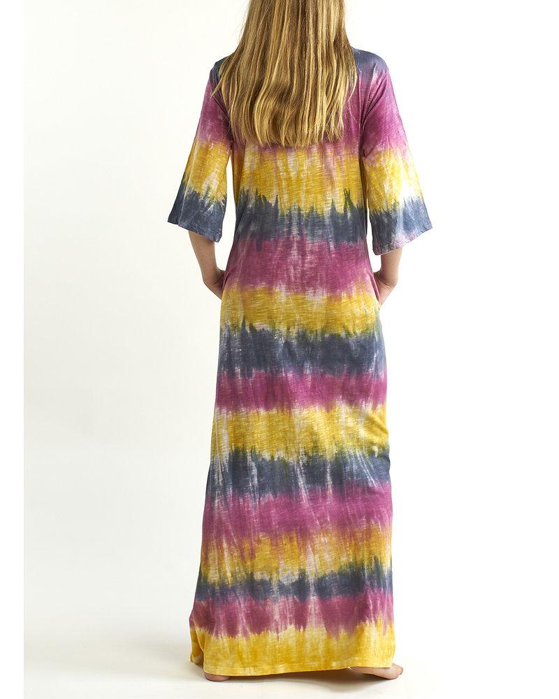 Lange Californische tie dye jurk met mouwen