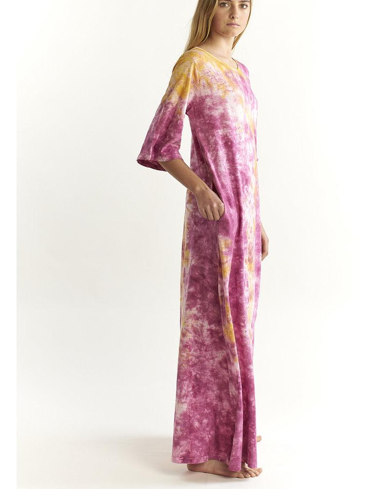 Vestido californication largo con efecto tie dye y mangas
