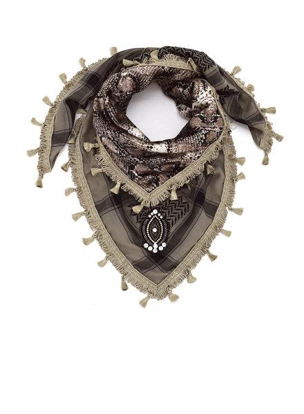 Izuskan Kleine sari sjaal taupe snake