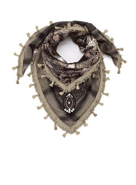 Izuskan Pequeño pañuelo sari serpiente gris pardo