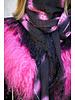 Black Bufanda Izuskan con Tibetlamm en el tie dye negro rosa