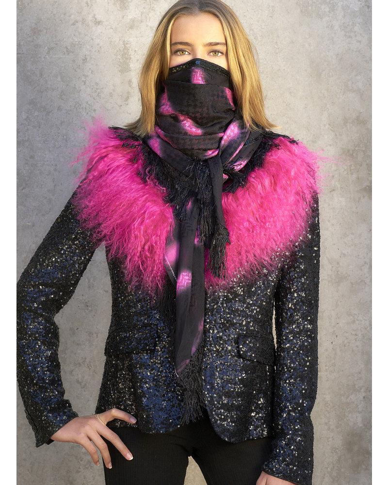 Black Izuskan  scarf  with Tibetlamm in the tie dye black pink