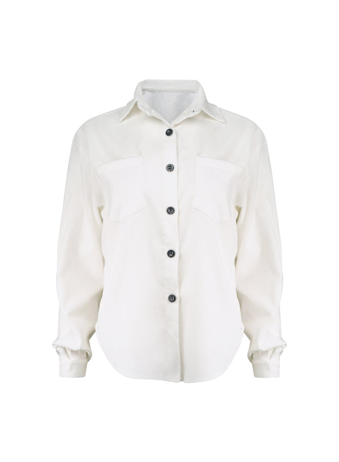 Abby rib blouse - white