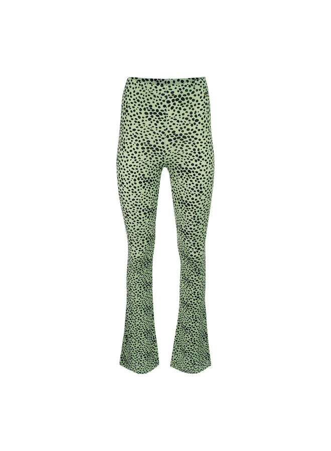 Dots flared  pants - lime