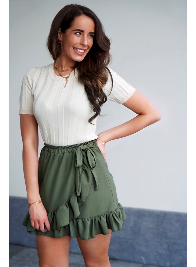 Diede ruffle skirt - army green