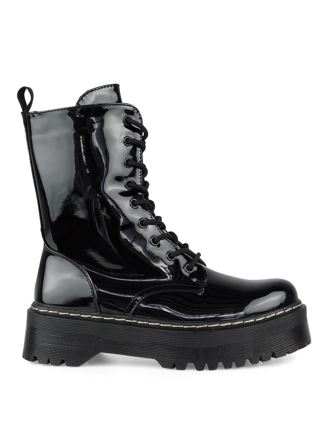 Nanne boots high sole - black/shiny