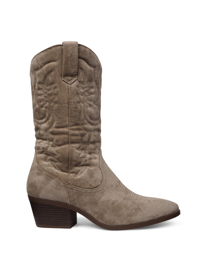 Suede cowboy boots - taupe